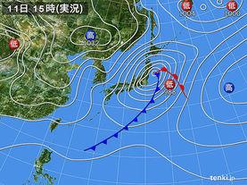 実況天気図(2015年12月11日)