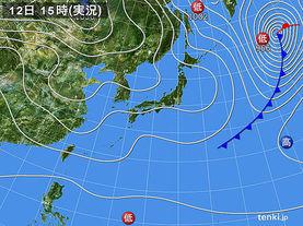 実況天気図(2015年12月12日)
