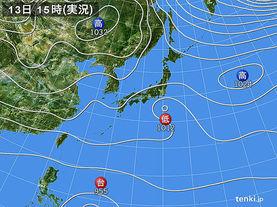 実況天気図(2015年12月13日)