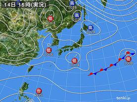 実況天気図(2015年12月14日)