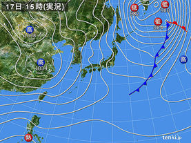 実況天気図(2015年12月17日)