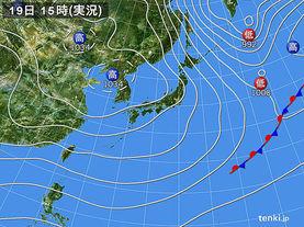 実況天気図(2015年12月19日)