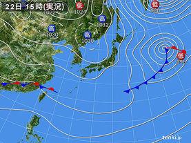 実況天気図(2015年12月22日)