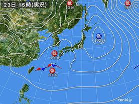 実況天気図(2015年12月23日)