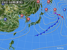 実況天気図(2015年12月25日)