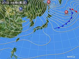 実況天気図(2015年12月27日)