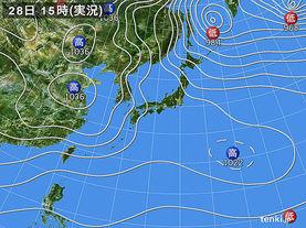 実況天気図(2015年12月28日)