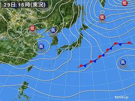 実況天気図(2015年12月29日)
