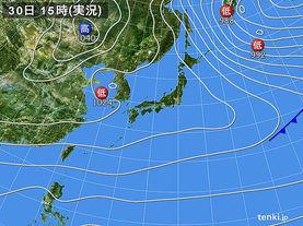 実況天気図(2015年12月30日)