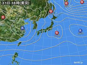 実況天気図(2015年12月31日)