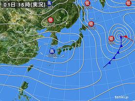 実況天気図(2016年01月01日)