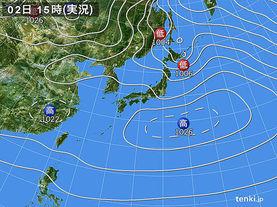実況天気図(2016年01月02日)