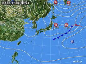 実況天気図(2016年01月04日)
