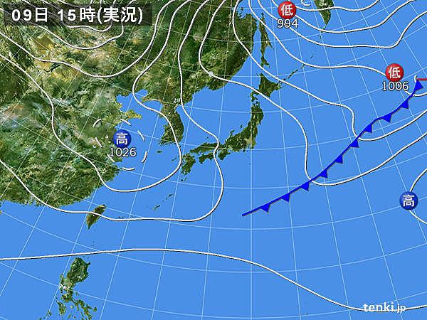 実況天気図(2016年01月09日)
