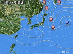 実況天気図(2016年01月10日)