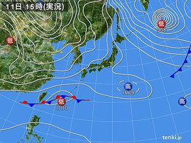 実況天気図(2016年01月11日)