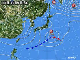 実況天気図(2016年01月12日)