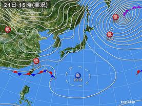 実況天気図(2016年01月21日)
