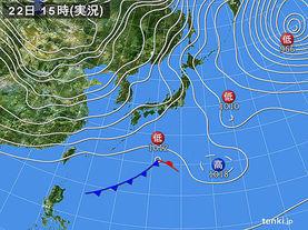 実況天気図(2016年01月22日)