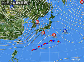 実況天気図(2016年01月23日)