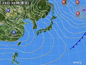 実況天気図(2016年01月25日)