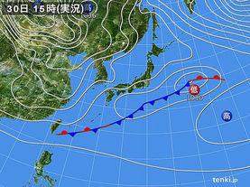 実況天気図(2016年01月30日)