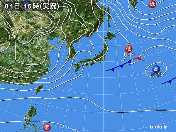 実況天気図(2016年02月01日)