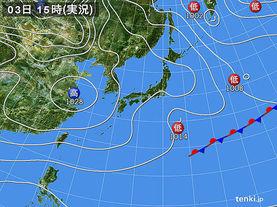 実況天気図(2016年02月03日)