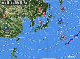実況天気図(2016年02月04日)