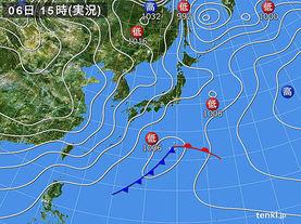 実況天気図(2016年02月06日)