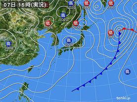 実況天気図(2016年02月07日)