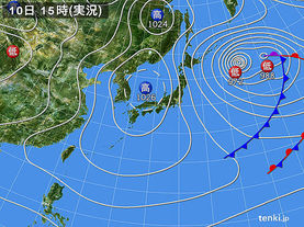 実況天気図(2016年02月10日)