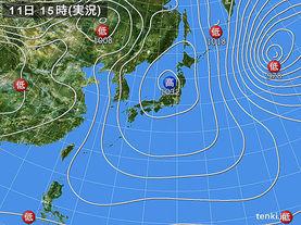 実況天気図(2016年02月11日)