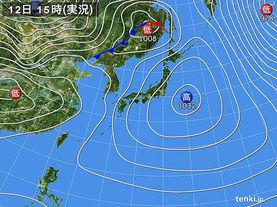 実況天気図(2016年02月12日)