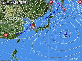 実況天気図(2016年02月13日)
