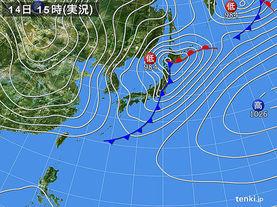 実況天気図(2016年02月14日)