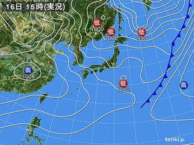 実況天気図(2016年02月16日)