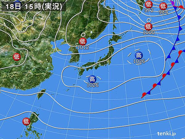 実況天気図(2016年02月18日)