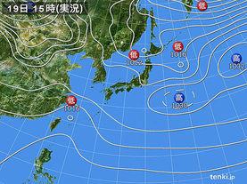 実況天気図(2016年02月19日)