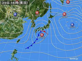 実況天気図(2016年02月20日)