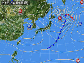 実況天気図(2016年02月21日)