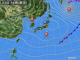 実況天気図(2016年02月22日)