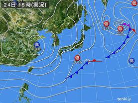 実況天気図(2016年02月24日)