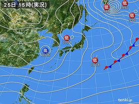 実況天気図(2016年02月25日)