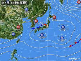 実況天気図(2016年02月27日)