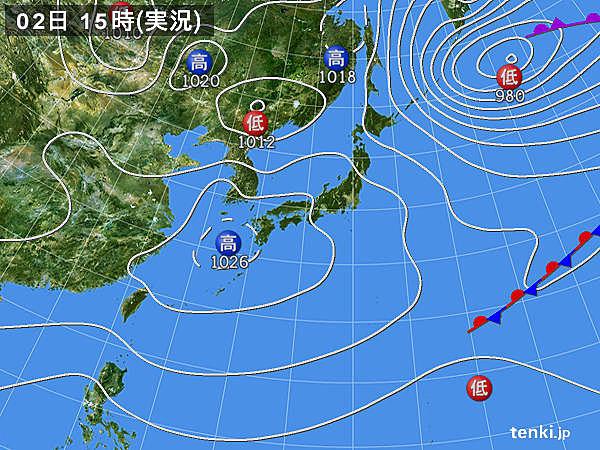 実況天気図(2016年03月02日)