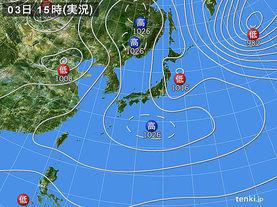 実況天気図(2016年03月03日)