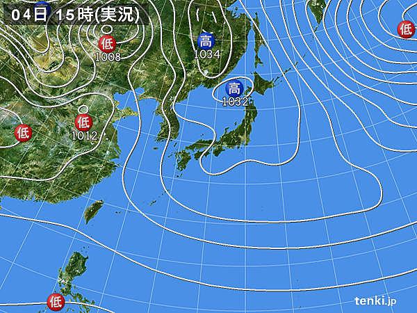 実況天気図(2016年03月04日)