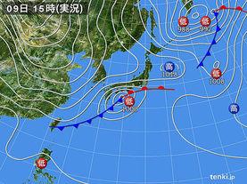 実況天気図(2016年03月09日)