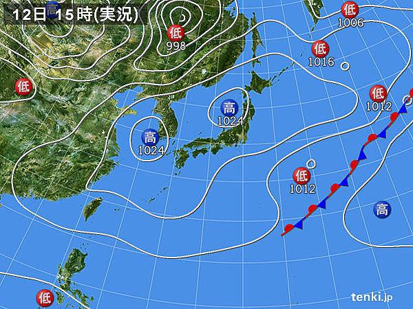 実況天気図(2016年03月12日)